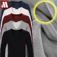 2018 High Quality Autumn Winter Mens Warm Thermal tshirt Man Long Sleeve Casual V Neck Velvet Thick Plus Thick T-Shirt Male Tees(China)