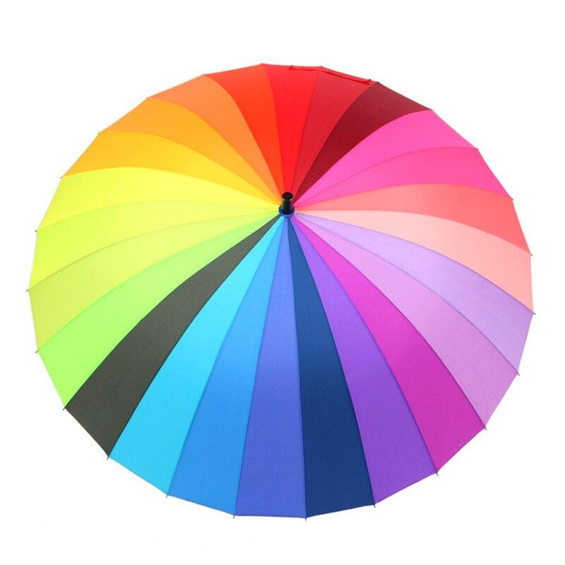 New Rainbow Long-handle Rain Umbrellas Waterproof Windproof Sports Straight  Golf Umbrella 24 Ribs 110cm in Diameter Large Size 5d920880814d