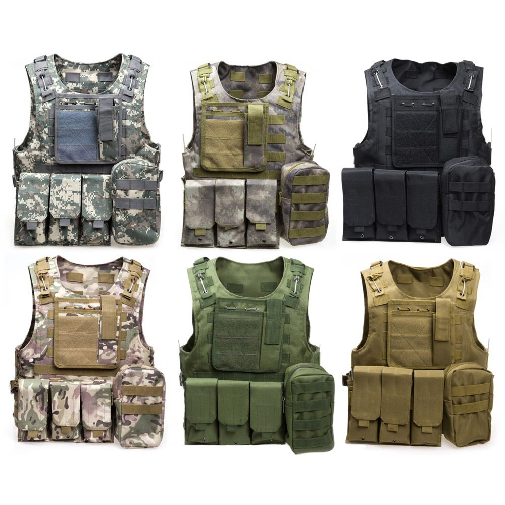 Camouflage Hunting Military Tactical Vest Wargame Body Molle Armor Hunting Vest CS Outdoor Jungle Equipment with 12 Colors