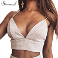 Simenual Hot sale V neck suede crop top bralette top camis 2017 summer fashion pink ladies camisole sexy hot strap tops women