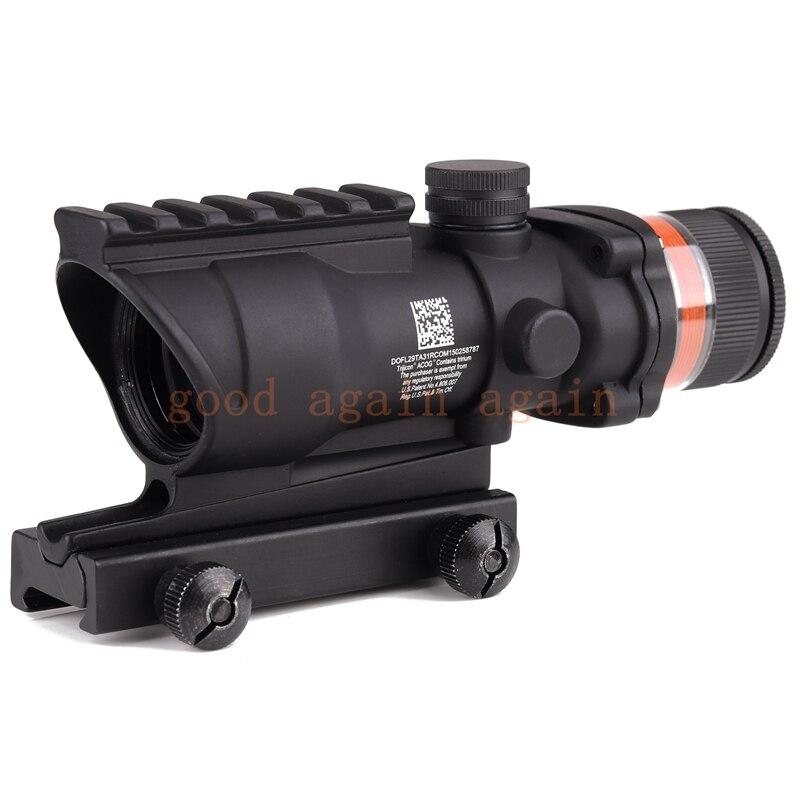 Tactique acog style 4x32 portée de fusil rouge fibre optique acog style chasse tir