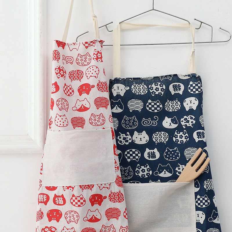 New Japanese style anti fouling apron kitchen sleeveless adult cartoon smock cotton linen fashion print apron in Aprons from Home Garden