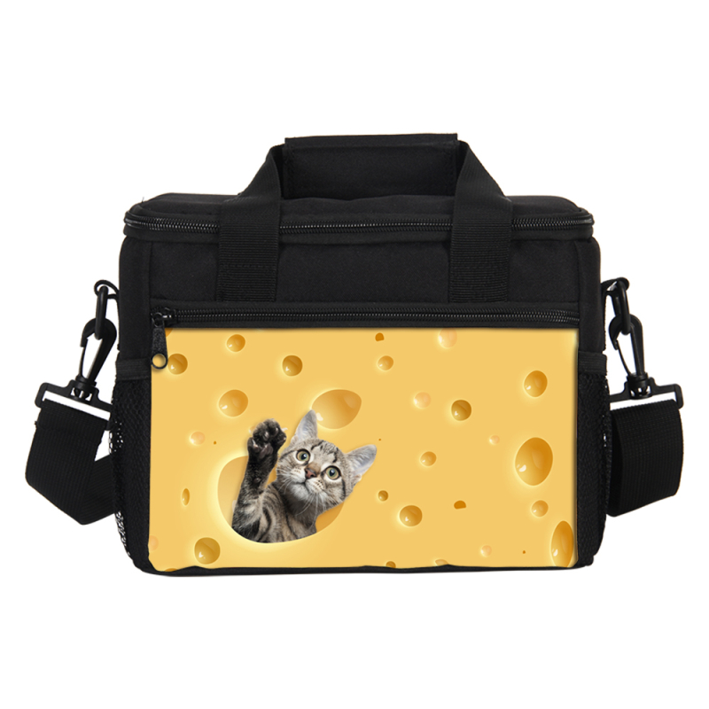 VEEVANV 3D Cute Cat Hamster With Cheese Print Food Thermal Bags Small Lunch Bags For women kids lunch bags for girls Picnic Box