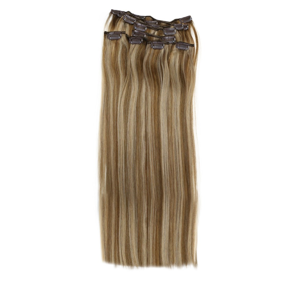 Full Shine 9 Pcs Clip In Hair Extensions #10 Highlighted With #16 Blonde 100% Remy  Double Wefted Clip Extensions Hair