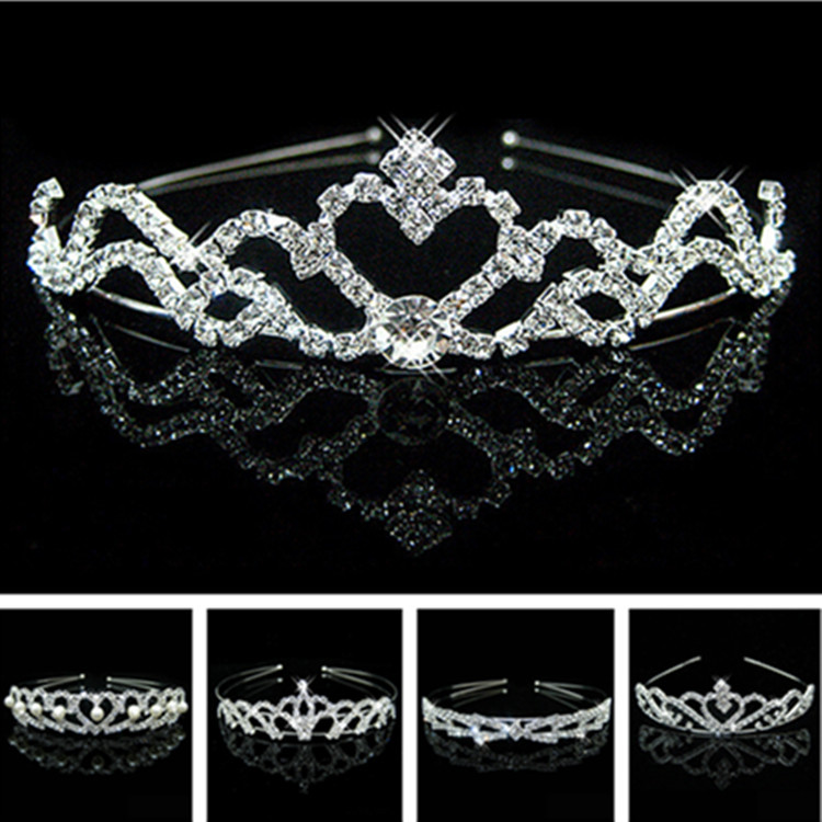 Wedding Party Pearl Crystal Wedding Princess Headband Rhinestone Pageant Tiaras And Crowns For