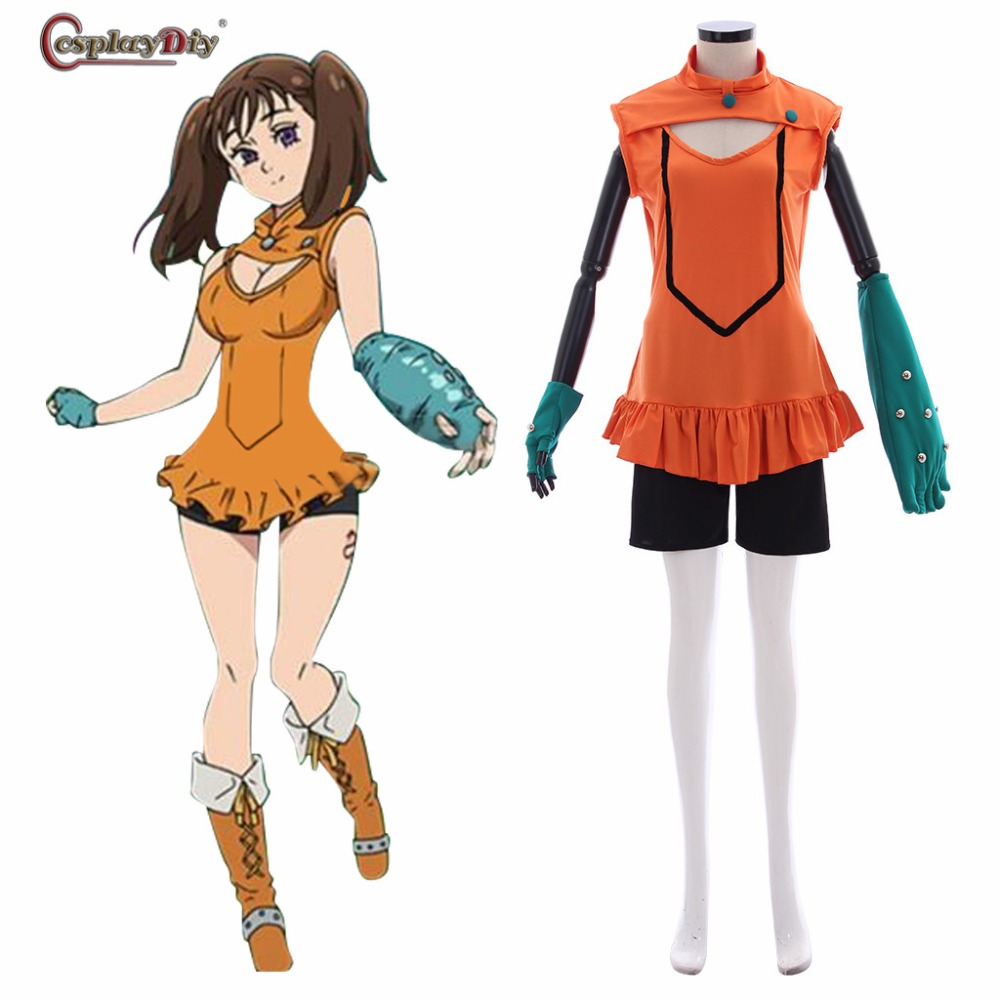 Cosplaydiy Anime The Seven Deadly Sins Cosplay Serpent's Sin of Envy Diane Costume Gloves Uniform Adult Women Halloween Carnival