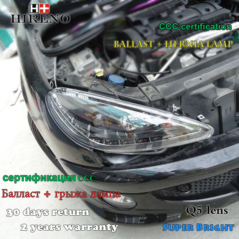 Hireno Car styling Headlamp for 2004-2008 Peugeot 206 Headlight Assembly LED DRL Angel Lens Double Beam HID Xenon 2pcs hireno car styling headlamp for 2007 2011 honda crv cr v headlight assembly led drl angel lens double beam hid xenon 2pcs