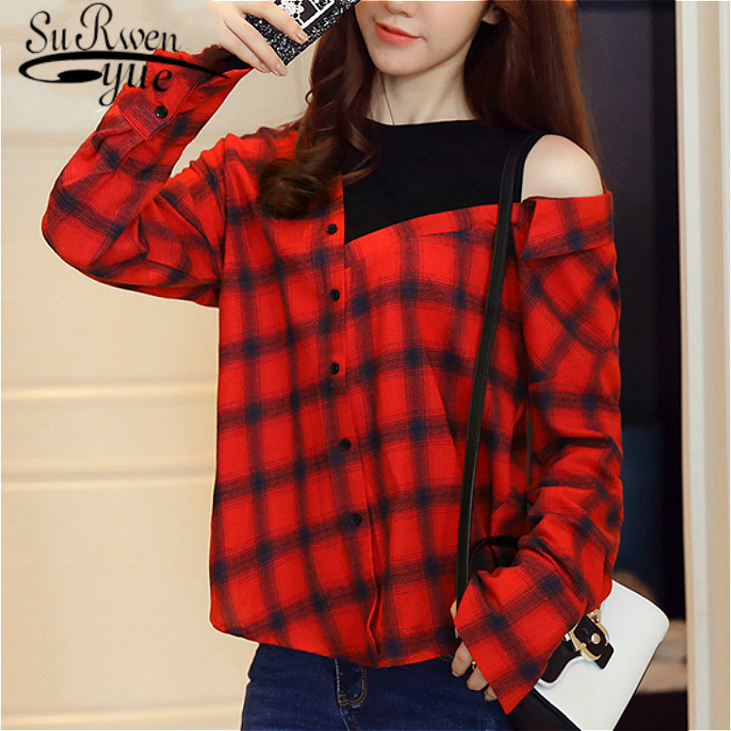 blusas mujer de moda 2019 womens tops and blouses long sleeve shirts women long sleeve shirts Plaid Skew Collar 2458 50