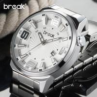 BREAK Top Brand Men Stainless Steel Band Quartz Wristwatches Fashion Sports Creative Calendar Watches Gift Dress