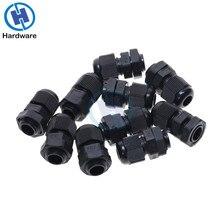 10 шт. PG7 черная кабельная втулка Водонепроницаемая пластиковая нейлоновая кабельная втулка, коннекторы