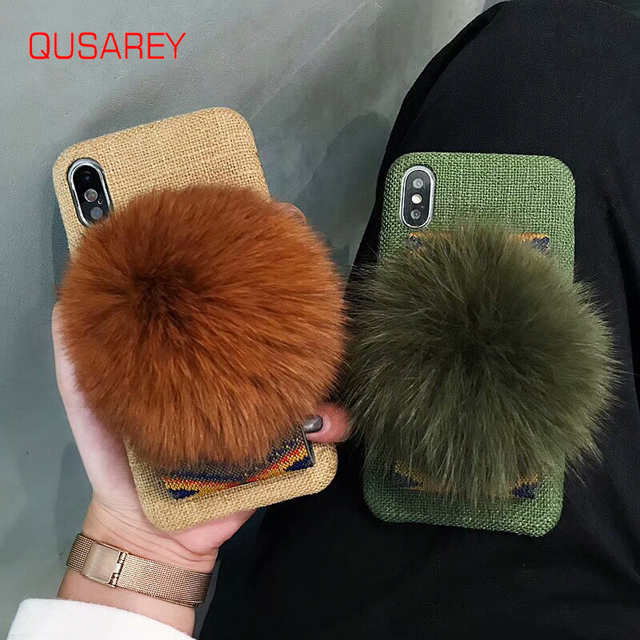QUSAREY Luxury Phone Case For iphone 6s 7P 8 XS XR XS MAX Hand Made Cotton Cloth Phone Case Big Ball Fluffy Hard Back Cover