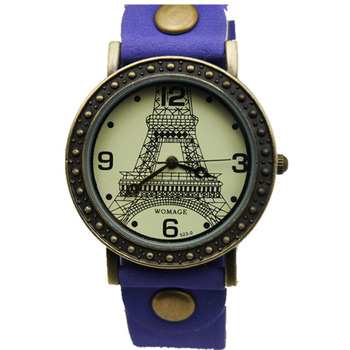 Womage Brand Women Fashion Watch Eiffel Tower Designer Vintage Lady Watch High Quality Leather Quartz watches 15 Assorted Colors