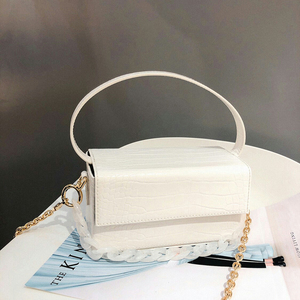 Image 2 - Acryl Kette Box Handtasche Frauen Sommer Mode Grün Krokodil Muster Kleine Platz Schulter Messenger Taschen Weibliche Neue Elegent