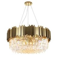 Luxo do Candelabro de Cristal Luminária para Sala de Jantar Sala de Estar dia 50 80 cm Ouro Estilo Moderno Levou Rodada luminária de luz|Lustres| |  -