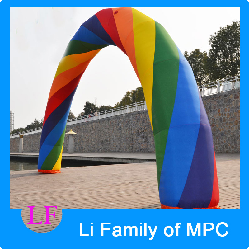 49ft=15M inflatable Rainbow arch for Advertisement 6 5ft diameter inflatable beach ball helium balloon for advertisement