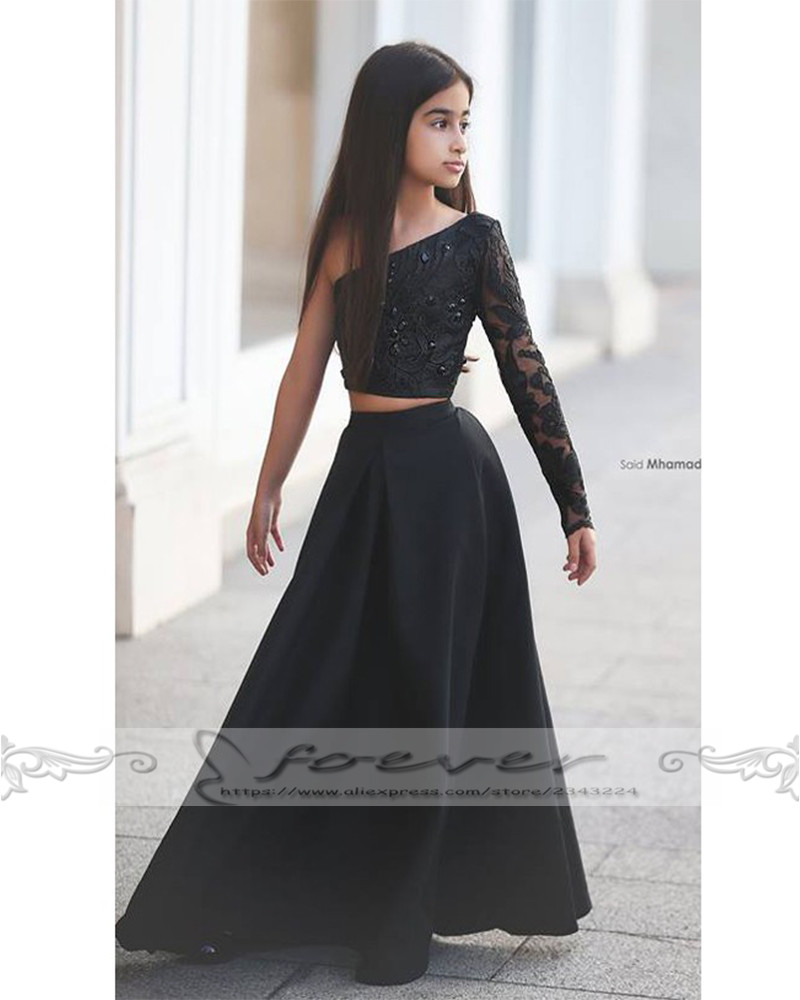 Black Girl Clothing: Black One Shoulder Long Sleeve Kids Evening Gowns Flower