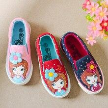 Filles Toile Chaussures 2016 Nouveau Automne Enfants Appartements Polka Dot De Mode Enfants Sneakers Denim Filles Princesse Chaussures Casual Chaussures