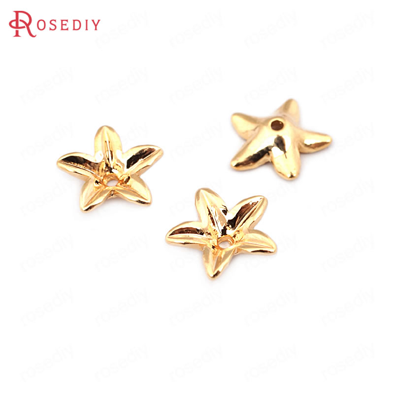 (33620)20PCS 8MM Height 2.5MM 24K Gold Color Brass Flower Beads Caps High Quality Diy Jewelry Findings Accessories Wholesale