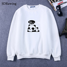 New Fashion panda print cotton Sweatshirts for Women Tops Casual Brand Graphic Tees Hipster Femme Womens Clothing