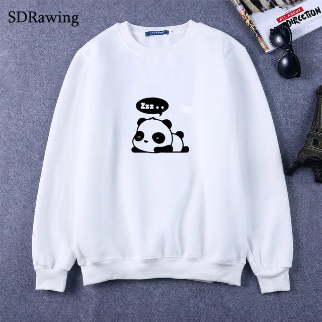 99fb86153fb3 New Fashion panda print cotton Sweatshirts for Women Tops Casual Brand  Graphic Tees Hipster Sweatshirts Femme Womens Clothing