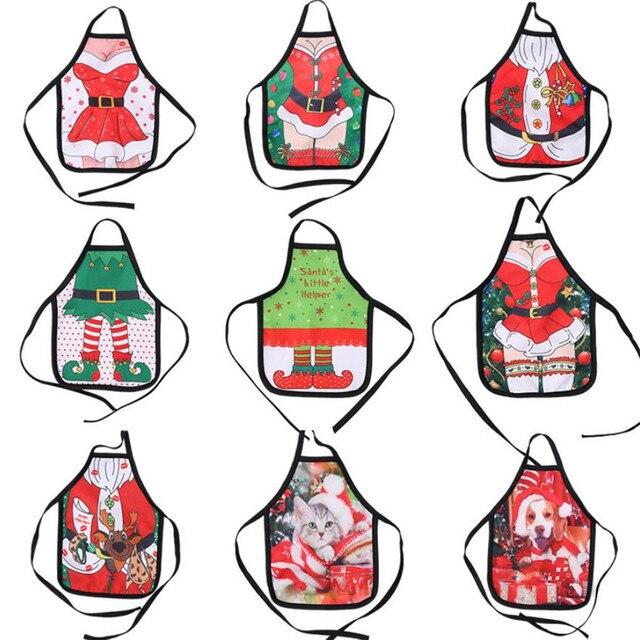 Рождественский маленький фартук бутылка винная крышка сумка сексуальная леди/Рождественская собака/Санта розовый красный винный чехол для бутылки Рождественское украшение для дома