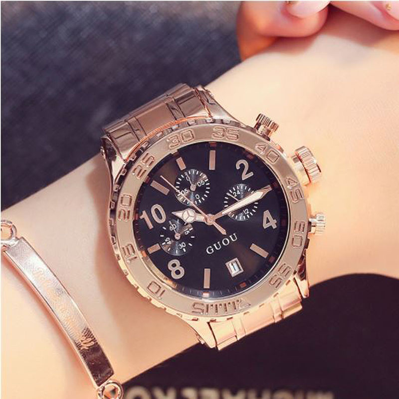 GUOU Rose Gold Watch For Women Watches Dress Wrist Watches saat Waterproof Ladies Watch Women Clock relogio feminino reloj mujer guou watches women fashion leather auto date women s watch multi runtioan luxury ladies clock saat relogio feminino reloj mujer