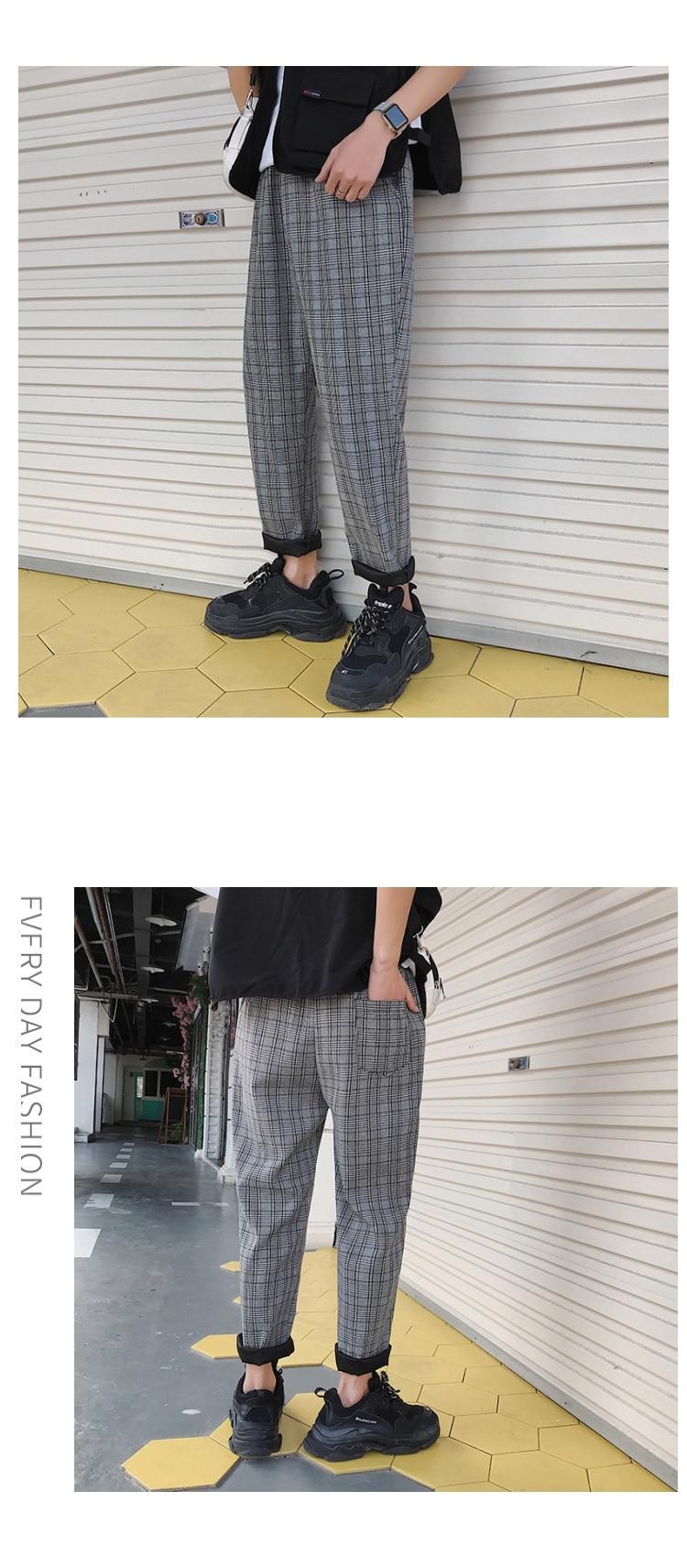 LAPPSTER Streetwear Yellow Plaid Pants Men Joggers 19 Man Casual Straight Harem Pants Men Korean Hip Hop Track Pants Plus Size 21