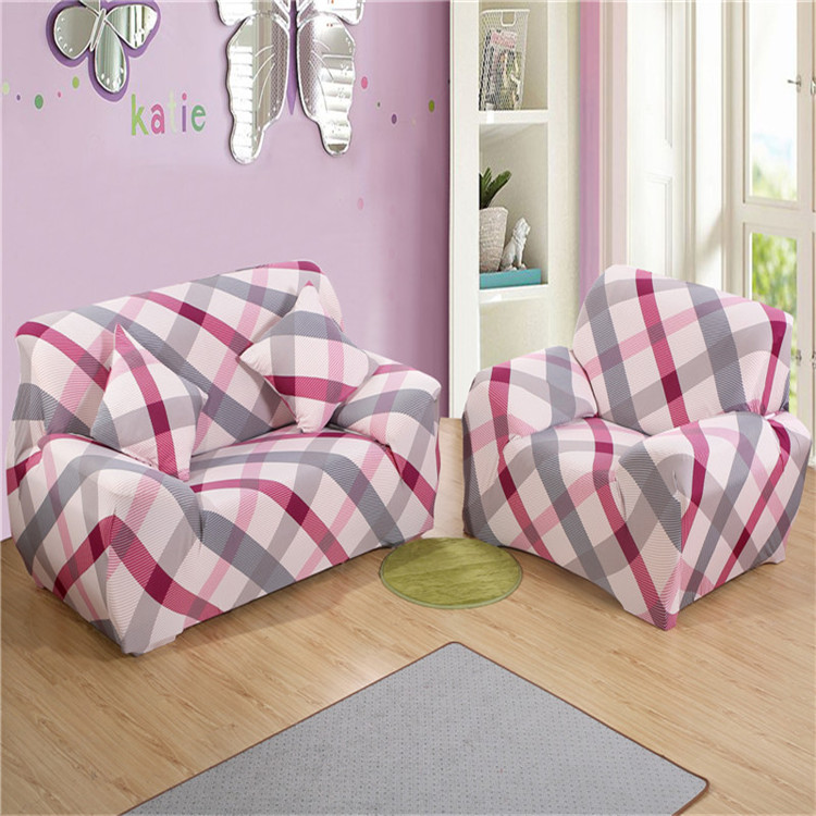 SunnyRain Pink Checked Poyester Elastic Sofa Cover Printed Modern Sofa  Cover For Sectional Sofa Couch Cover Machine Washable - Pink Sectional Sofa Promotion-Shop For Promotional Pink Sectional