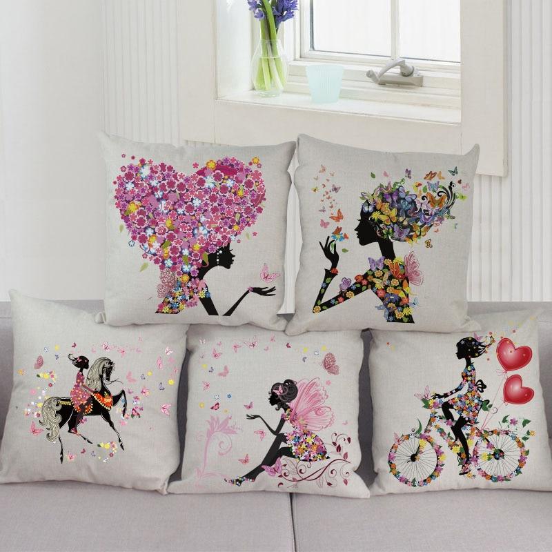 Romantic Love Flower Cushion Cover Sofa Chair Waist Cotton Linen Pillow Cover Colorful Pillowcase Home Decor