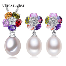 YIKALAISI 925 sterling silver jewelry 8-9mm Pearl Jewelry sets Natural Pearls lower Necklace Earrings Pendants For Women