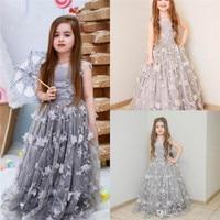 2019 новое длинное платье принцессы с цветочными аппликациями серебро платье с цветочным узором для девочек для Свадебный на день рождения п
