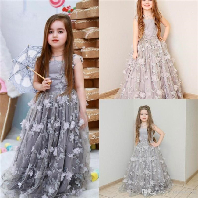 2019 New Long Princess Dress With Floral Appliques Silver Flower Girl Dress For Wedding Birthday Holiday Vestidos De Fiesta