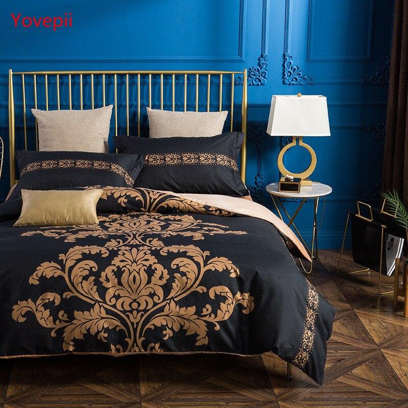 Yvoepii Europe Style bed linen set black golden duvet cover+ flat sheet+Pillowcase 4pcs bedding set Luxury 3D bedclothes winter
