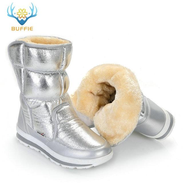 Buffie מותג חורף מגפי כסף נשים שלג מגפי פרווה מדרסים ליידי חם נעלי ילדה אופנה אמצע culf משלוח חינם נחמד למראה