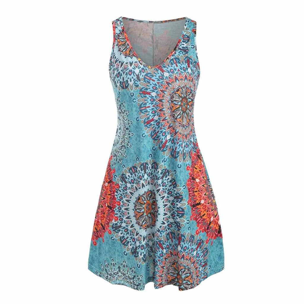 Модные женские летние сарафаны Повседневные платья с v-образным вырезом без рукавов с принтом вечерние праздничные пляжная одежда женские мини-платья для женщин