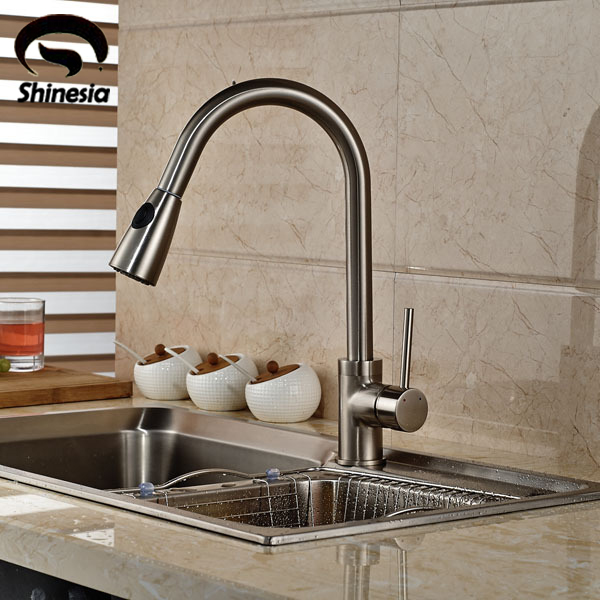 Brushed Nickel Two Functions Kitchen Faucet Single Handle Pull Out Kitchen Mixer Tap newly arrived pull out kitchen faucet gold sink mixer tap 360 degree rotation torneira cozinha mixer taps kitchen tap