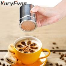 YuryFvna Čokoládový třepaček Nerezová ocel Icing Cukrový prášek Kakaová mouka Kávová tříčka Kávové nářadí Víko Čokoládová třepačka Kakao