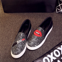 2016Platform Loafer Foot Wrapping Women's Shoes Personalized Hand-painted Shoes Lipstick Big Red Lip Comfortable Cow Muscle Shoe