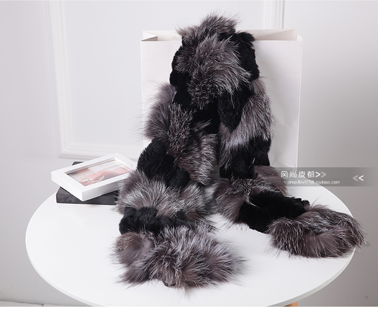 Image 3 - Harppihop silver fox fur black color New Fox fur c/w rex rabbit fur scarf wrap cape shawl best Christmas gift birthday gift-in Women's Scarves from Apparel Accessories