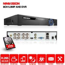 NINIVISION 5MP AHD DVR 8ch 4ch Recorder Surveillance 2TB HDD AHD DVR 8ch 4ch Recorder Surveillance for Analog TVI CVI IP Camera dh xvr video recorder xvr4104c xvr4108c 4ch 8ch 720p support hdcvi ahd tvi cvbs ip video inputs