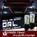 Диан гуан автомобиль вел свет Для Mazda3 светодиодные DRL включите свет Дневного Света и Передняя Включите Signalslight все в один желтый и белый