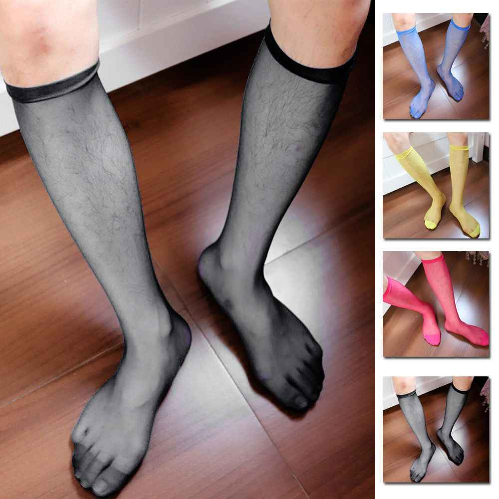 c1f7ebd64 Detail Feedback Questions about New 1 Pair Men s Sexy Knee High Long Dress  Nylon Mesh Sheer Socks men fashions cool socks Thigh High Stockings  Stretchy ...