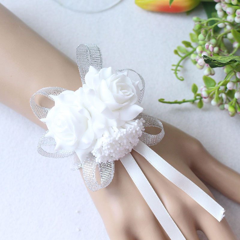 Wrist Flower Bridesmaid Hand Flowers wedding corsage  (15)