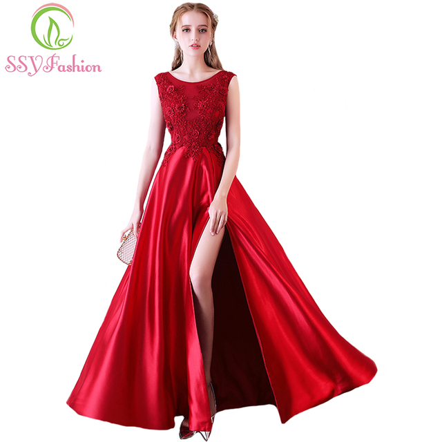 SSYFashion New The Bride Banquet Elegant Evening Dress Wine Red Satin  High-split Lace Flower Floor-length Prom Party Formal Gown 36e3b3e1a825