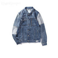 Bebovizi New Fashion Japanese Street Style Men Washed Denim Jacket Retro Old Cowboy Clothing Man Stitching