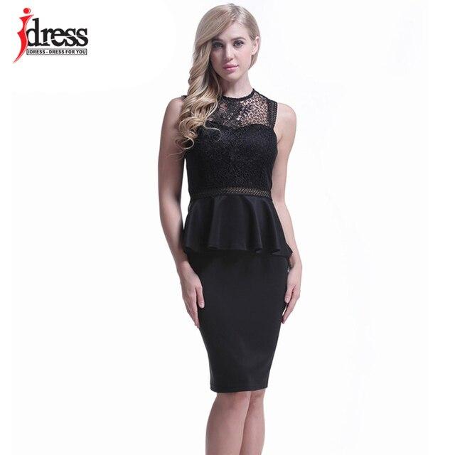 IDress Black Red Sexy Club Factory Patchwork Lace Dress Party Evening  Bodycon Summer Dress Knee Length Peplum Vestidos Verano 9cedd01d2ea4
