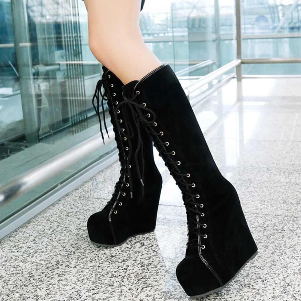 KARINLUNA Marka Parti Yüksek Takozlar Orta Buzağı Çizmeler Kadınlar 2019 Kış Dantel Up Platformu Kürk Çizmeler Bayanlar Yüksek topuklu Ayakkabılar Kadın