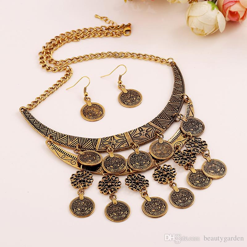 18pcs lot Ladies Jewelry Alloy Necklace Necklet Hollow Carving Design Party Banquet Neck Ornament With Coins jn133 in Pendant Necklaces from Jewelry Accessories