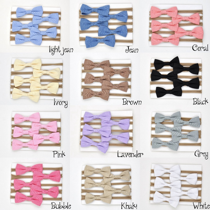 24pcs/lot Nylon Headband Handband Fabric Bow Hair Band Newborn Hair Accessory 12colors Kids Girls Hair Accessories Headbands DIY newborn photography props child headband baby hair accessory baby hair accessory female child hair bands infant accessories