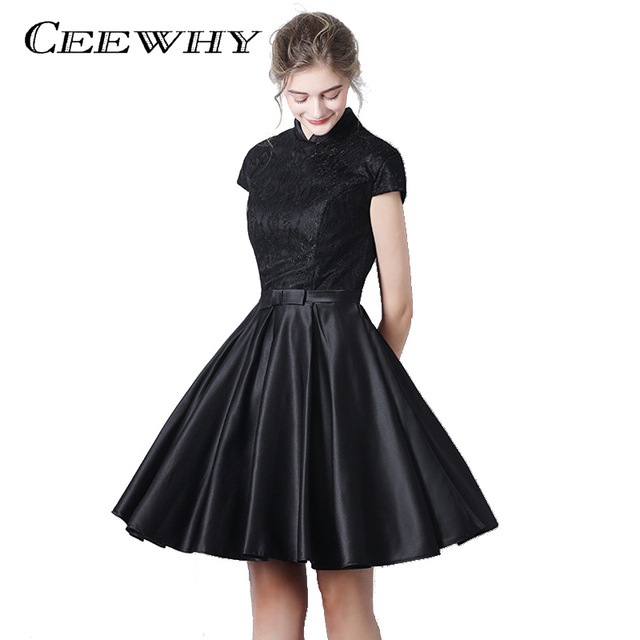 CEEWHY Vintage Cap Sleeve High Collar Little Black Dress Short ...